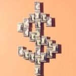 Dollar sign made out of cash